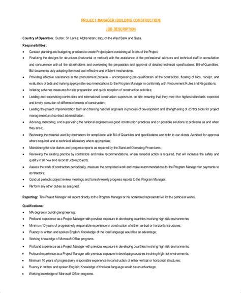 project management job description resume project manager resume