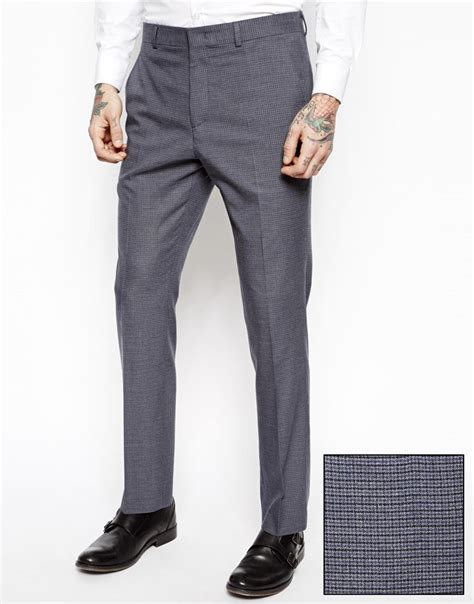 Fashion Trousers Color Slim Design Navy asos slim fit suit in mini houndstooth in blue for