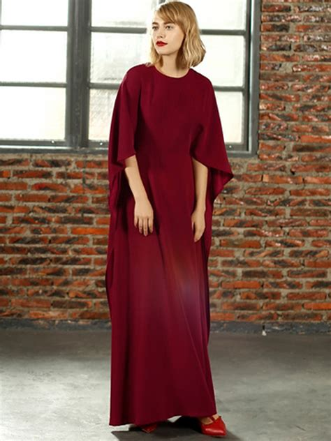 popular  sale red batwing sleeve cape  maxi dress