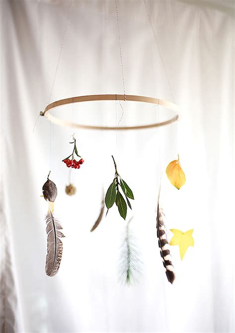 Autumn Wall Murals diy leaves amp feather mobile the style files