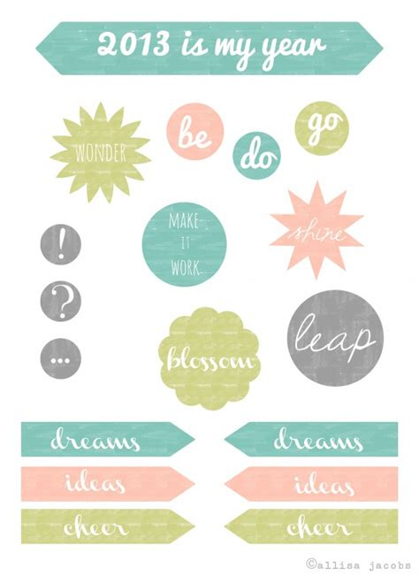 printable stickers journal course charting for 2013 diy journal and printable