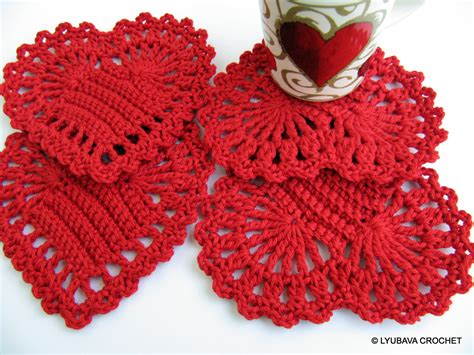 crochet pattern heart applique crochet coasters red heart coasters valentine s day