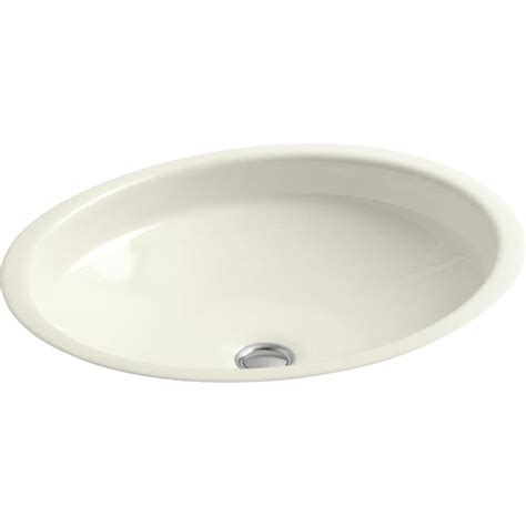 kohler cast iron bathroom sink shop kohler canvas biscuit cast iron undermount oval