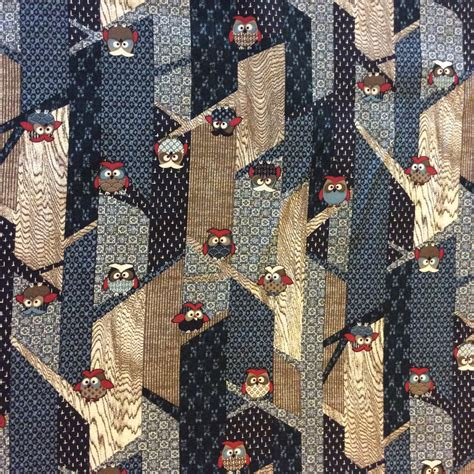 Japanese Patchwork Fabric - asian owls birds modern sevenberry japanese patchwork