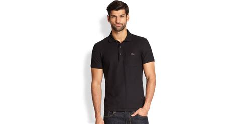 Polo Shirt Lacost Tosca List Black lyst lacoste leather croc polo shirt in black for