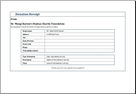 Free Charitable Donation Receipt Template by Donation Receipt Templates Print Paper Templates