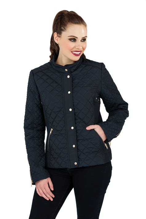Navy Blue Quilted Jacket Womens by Womens Navy Blue Quilted Coat Biker Warm