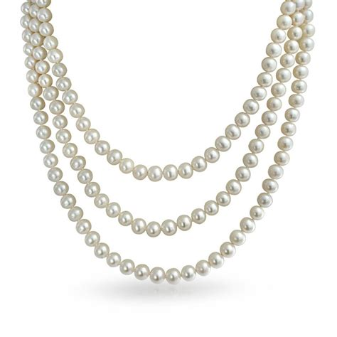 bridal strand white pearl necklace gatsby inspired 20in