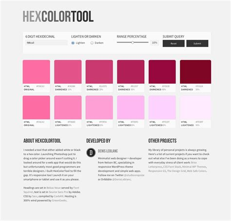 hex color tool hex color tool one page website award
