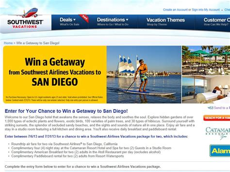 San Diego Sweepstakes - southwest airlines win a getaway to san diego sweepstakes