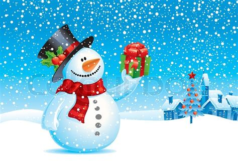 smiling snowman with gift vector christmas illustration