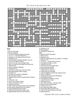An American Crossword Puzzle American Revolution Crosswo By Donna Melton Teachers Pay Teachers