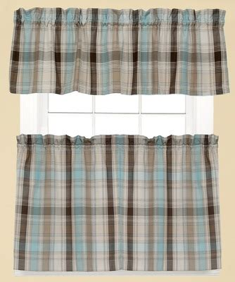 Blue Plaid Kitchen Curtains Cooper Plaid Kitchen Curtain Blue Linens4less