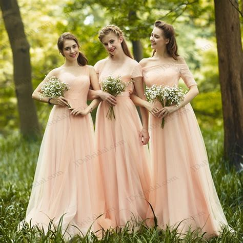 blush colored flower dresses pd16035 blush colored chiffon bridesmaid dress prom