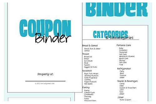 coupon organizer categories list printable
