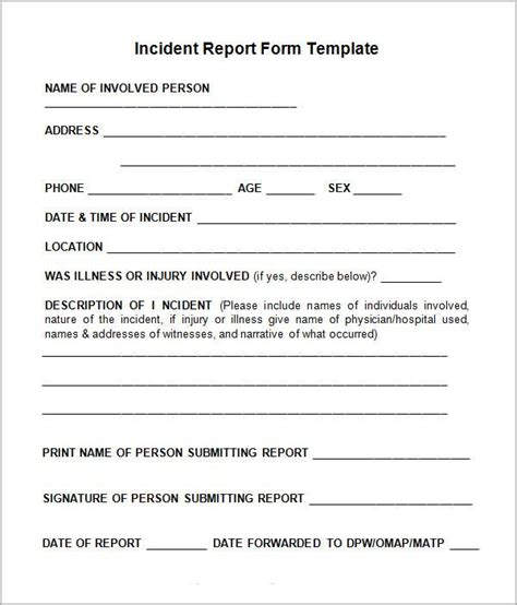 incident report sample incident report form
