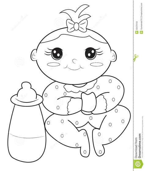 Baby Girl Coloring Page Stock Illustration Illustration