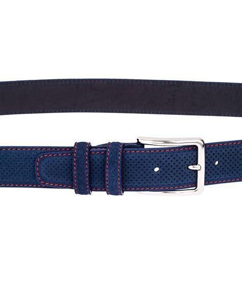 Perforated Belt buy perforated blue suede belt leatherbeltsonline