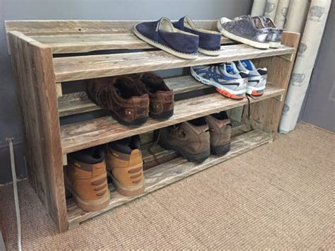 Handmade Shoe Rack - handmade reclaimed pallet wood shoe rack
