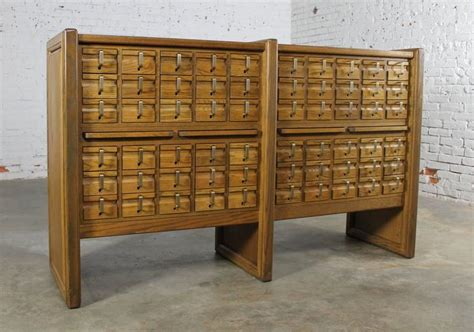 Vintage Card Catalog Cabinet For Sale by Vintage Oak 60 Drawer Library Card Catalog Cabinet For