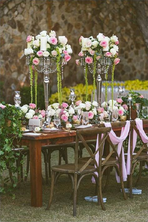rustic backyard wedding decoration ideas deer pearl flowers