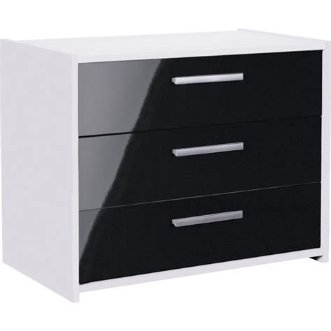 buy home new sywell 3 drawer chest white black gloss