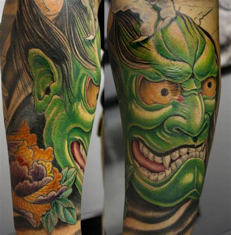 green hannya mask tattoo hannya mask by bart andrews tattoonow