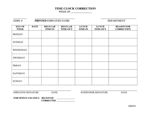 time card adjustment form template clock in clock out sheet template image collections