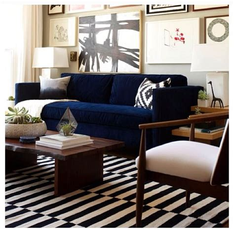 navy couches living room navy couch and striped rug chez moi pinterest navy