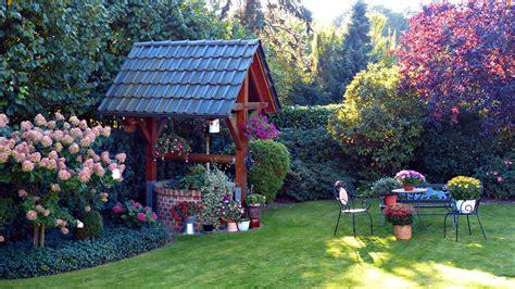 Garten Mit Teich 3436 by Lato Ogr 243 D Krzewy Studnia Kwiaty Tapety Tja Pl