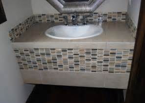 bathroom vanity tile ideas powder bath tiled vanity w glass tile eclectic
