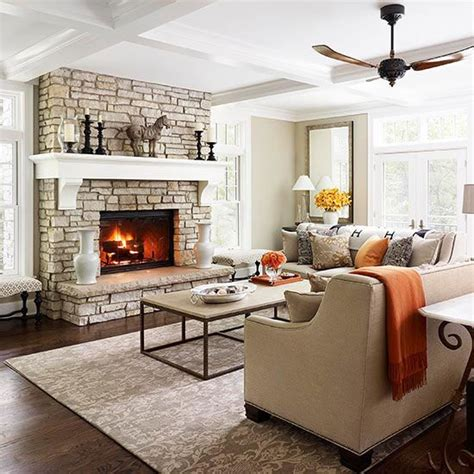 Neutral Living Room With Fireplace Fireplaces The Fireplace And Living Rooms On