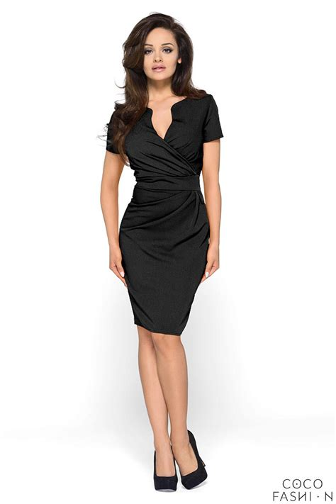wrap around wrap around self belted sheath black dress