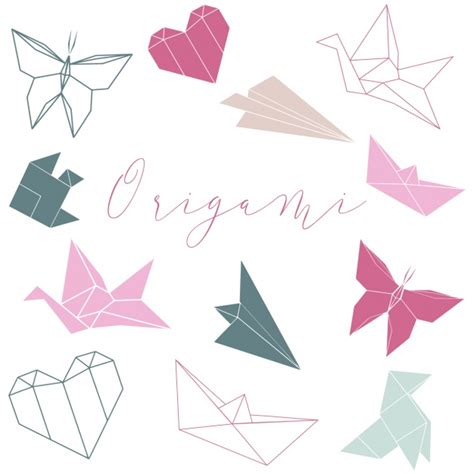 Shape Origami - origami shapes collection vector free