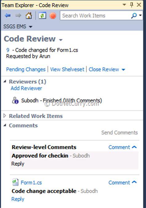 code review workflow code review workflow in visual studio vnext visual