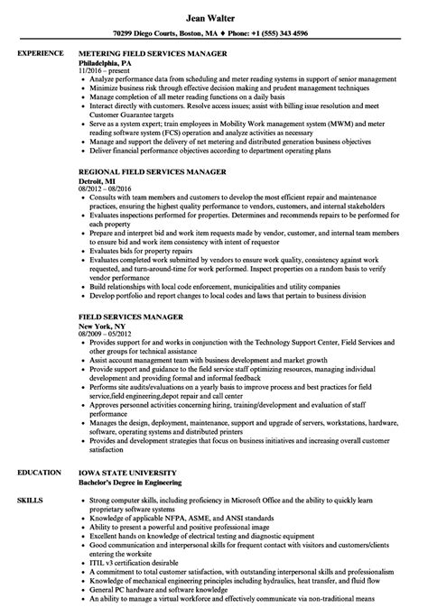 field service manager sle resume public relations
