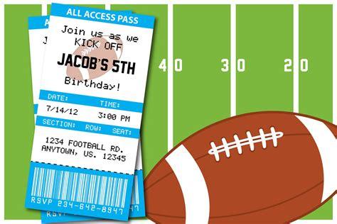 Football Birthday Card Template by Football Themed Birthday Invitation Thank You Card