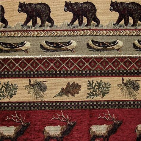 lodge style upholstery fabric cabin bear rustic upholstery fabric horizon lodge canoe