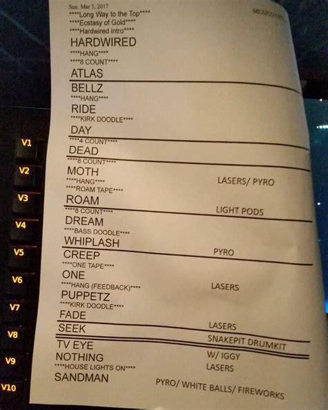 metallica setlist last night s real setlist the1975