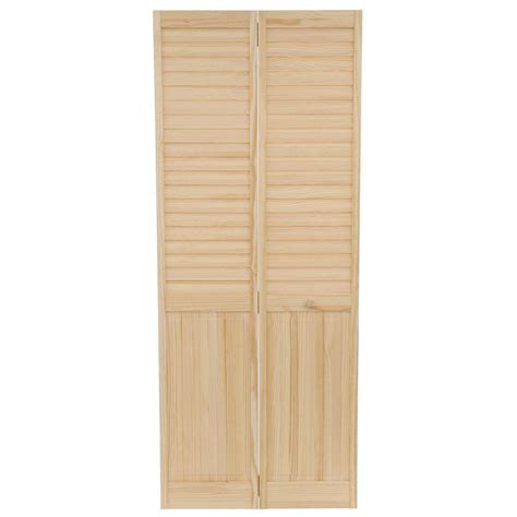 Wood Folding Doors Interior Bay 32 In X 80 In Louver Panel Solid Unfinished Wood Interior Closet Bi Fold