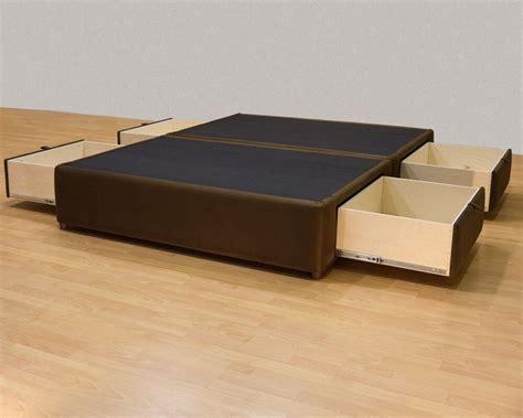 king platform bed  storage drawers uphostered storage