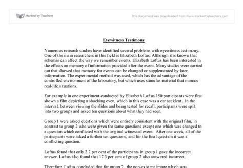 My Testimony Essay by Eyewitness Testimony Essay
