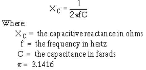 capacitor reactance equation effect of frequency on inductive reactance