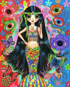 hippie mermaid psychedelic 1960s 1970s blythe doll big