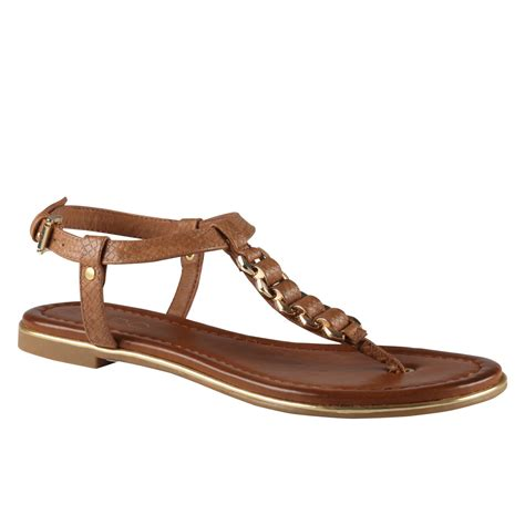aldo brown sandals aldo miralles flat sandals in brown cognac lyst