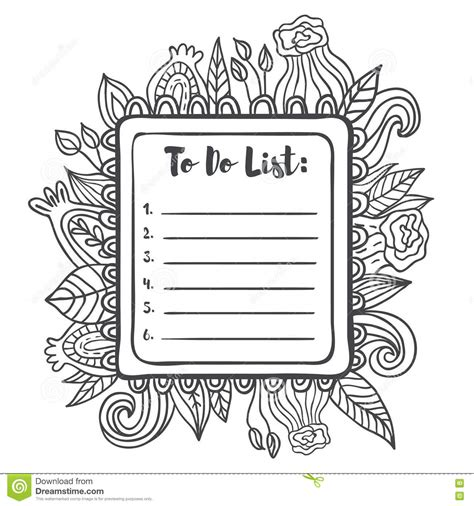 doodle to do list printable to do list page stock illustration
