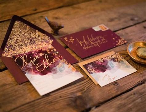 Picture of burgundy and gold leaf wedding invites watercolor invitations