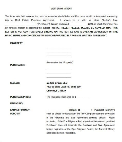 Letter Of Intent To Purchase House real estate letter of intent 10 free word pdf format