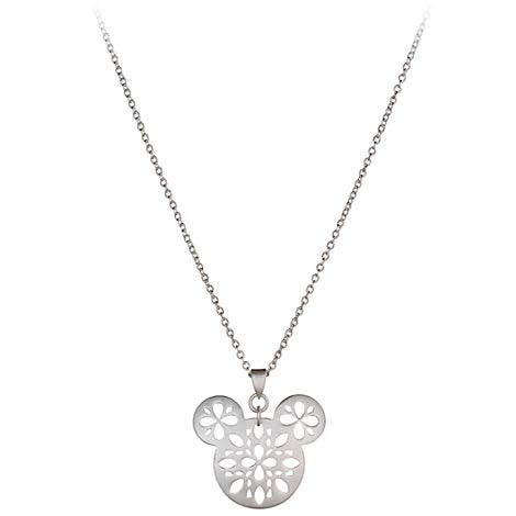 Disney Mickey Necklace Kalung your wdw store disney necklace floral silver mickey icon