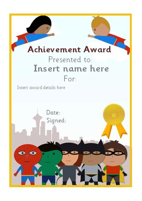 editable superhero themed certificate teachingresources